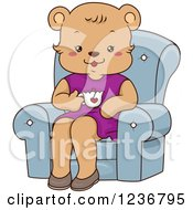 Clipart Of A Happy Female Bear Drinking Tea In A Chair Royalty Free Vector Illustration by BNP Design Studio