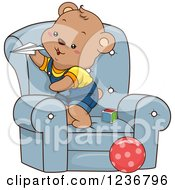 Clipart Of A Happy Male Bear Cub Playing With Paper Planes In A Chair Royalty Free Vector Illustration by BNP Design Studio