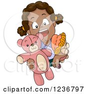 Clipart Of A Happy African American Girl Holding Up A Teddy Bear Royalty Free Vector Illustration