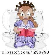 Clipart Of A Sad Crying African American Girl Reading A Book In Bed Royalty Free Vector Illustration