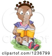 Clipart Of A Thoughtful African American Girl Reading A Book Royalty Free Vector Illustration