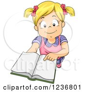Clipart Of A Blond Girl Holding Up A Book Royalty Free Vector Illustration
