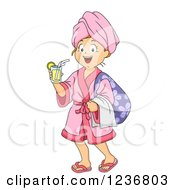Clipart Of A Happy Girl With A Drink And Robe At A Spa Royalty Free Vector Illustration by BNP Design Studio