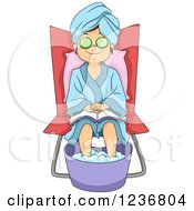 Pampered And Relaxed Girl Getting A Foot Soak At A Spa
