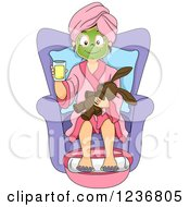 Clipart Of A Happy Girl With A Stuffed Animal Getting A Foot Soak At A Spa Royalty Free Vector Illustration