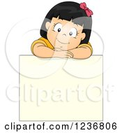 Clipart Of A Happy Asian Girl Resting On Top Of A Blank Sign Board Royalty Free Vector Illustration