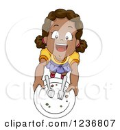 Clipart Of A Happy African American Girl Holding Up A Plate Royalty Free Vector Illustration