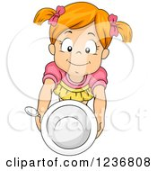 Clipart Of A Hungry Red Haired Girl Holding Up A Bowl Royalty Free Vector Illustration