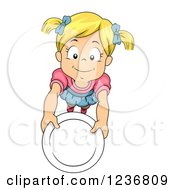 Clipart Of A Hungry Blond Girl Holding Up A Plate Royalty Free Vector Illustration