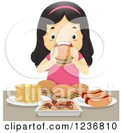 Clipart Of A Hungry Asian Girl Binge Eating On Junk Food Royalty Free Vector Illustration by BNP Design Studio