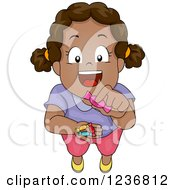 Clipart Of A Happy African American Girl Sharing Candy Royalty Free Vector Illustration by BNP Design Studio