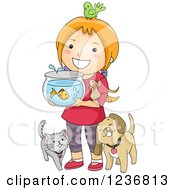 Clipart Of A Happy Red Haired Girl With Her Pets Royalty Free Vector Illustration