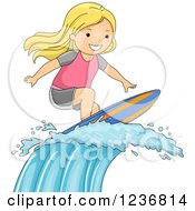 Clipart Of A Blond Surfer Girl Riding A Wave Royalty Free Vector Illustration by BNP Design Studio
