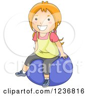Clipart Of A Happy Red Haired Girl Sitting On An Exercise Ball Royalty Free Vector Illustration