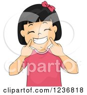 Clipart Of A Happy Asian Girl Holding Up Corners Of Her Mouth And Grinning Royalty Free Vector Illustration