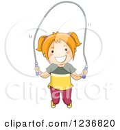 Clipart Of A Happy Red Haired Girl Playing With A Jump Rope Royalty Free Vector Illustration