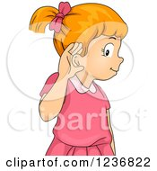 Red Haired Girl Covering Her Ear To Hear