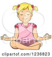 Clipart Of A Relaxed Blond Girl Meditating In The Lotus Pose Royalty Free Vector Illustration