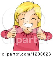 Clipart Of A Happy Blond Girl Grinning And Holding Two Thumbs Up Royalty Free Vector Illustration