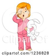 Clipart Of A Tired Red Haired Girl Rubbing Her Eyes Yawning And Holding A Stuffed Rabbit Royalty Free Vector Illustration