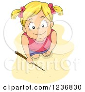 Clipart Of A Happy Blond Girl Kneeling And Writing In Beach Sand With A Stick Royalty Free Vector Illustration by BNP Design Studio