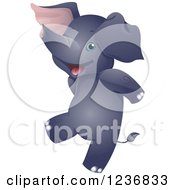 Clipart Of A Cute Elephant Dancing Upright Royalty Free Vector Illustration by BNP Design Studio