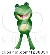 Clipart Of A Cute Frog With Folded Arms Royalty Free Vector Illustration by BNP Design Studio