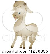 Clipart Of A Cute White Goat Royalty Free Vector Illustration by BNP Design Studio