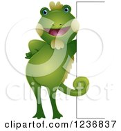 Clipart Of A Cute Iguana Leaning Against A Sign Royalty Free Vector Illustration by BNP Design Studio