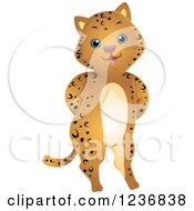 Clipart Of A Cute Jaguar Standing With His Hands Behind His Back Royalty Free Vector Illustration by BNP Design Studio