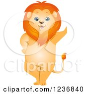 Clipart Of A Cute Male Lion Leaning Royalty Free Vector Illustration by BNP Design Studio