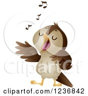 Clipart Of A Cute Nightingale Singing Royalty Free Vector Illustration