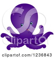 Clipart Of A Cute Happy Purple Octopus Royalty Free Vector Illustration