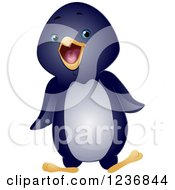 Clipart Of A Cute Waddling Penguin Royalty Free Vector Illustration by BNP Design Studio