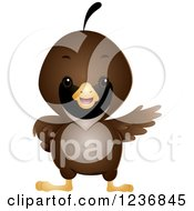 Clipart Of A Cute Quail Presenting Royalty Free Vector Illustration by BNP Design Studio