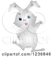 Clipart Of A Cute White Bunny Rabbit Waving Royalty Free Vector Illustration