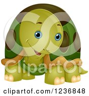 Clipart Of A Cute Tortoise Cocking His Head Royalty Free Vector Illustration by BNP Design Studio