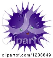 Clipart Of A Cute Happy Purple Sea Urchin Royalty Free Vector Illustration by BNP Design Studio