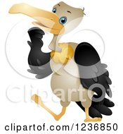 Clipart Of A Cute Vulture Rubbing His Chin Royalty Free Vector Illustration by BNP Design Studio