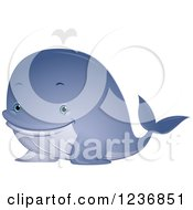 Clipart Of A Cute Spouting Blue Whale Royalty Free Vector Illustration by BNP Design Studio