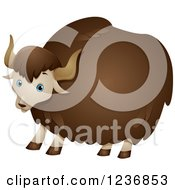 Clipart Of A Cute Fluffy Yak Royalty Free Vector Illustration