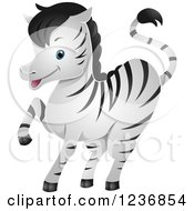 Clipart Of A Cute Zebra Prancing Royalty Free Vector Illustration by BNP Design Studio