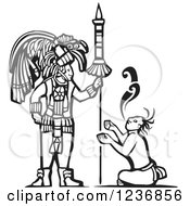 Clipart Of A Black And White Woodcut Servant Begging A Mayan King Royalty Free Vector Illustration