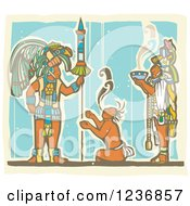 Clipart Of A Mayan Kings With A Smoking Bowl Over A Servant Royalty Free Vector Illustration