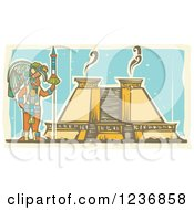 Clipart Of A Mayan King And Pyramid Royalty Free Vector Illustration by xunantunich