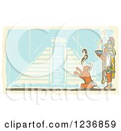 Clipart Of A Mayan King Holding A Smoking Bowl Over A Servant And Pyramid Royalty Free Vector Illustration