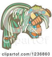 Clipart Of A Mayan King Head With Ornamental Headdress Royalty Free Vector Illustration