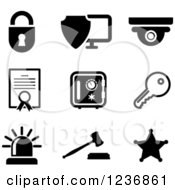 Clipart Of Black And White Security Icons Royalty Free Vector Illustration