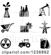 Clipart Of Black And White Energy And Oil Icons Royalty Free Vector Illustration