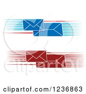 Clipart Of Fast Red And Blue Envelopes With Speed Lines Royalty Free Vector Illustration by Vector Tradition SM